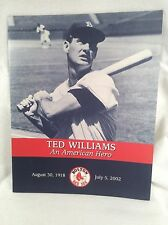 Ted Williams 2002 An American Hero Red Sox Fenway Park Tribute Program
