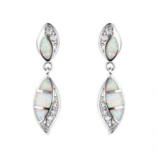 Beautiful Silver Filled White Fire imitation Opal Ear Stud Earrings Wedding Gift