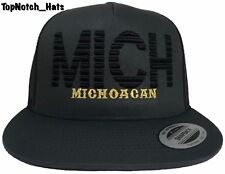 Michoacan MICH Gray And Black With Gold Trucker Hat Brand New Ships Now !!!