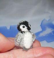 "Dollhouse Miniature Pengui Handmade Crochet Pet Stuffed Animal Penguin Gift 1"""