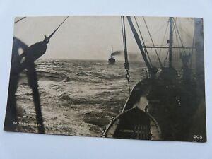 """WW1 German Navy Postcard """"Minensucher. Abendstimmung"""""""