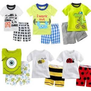 Kid Baby Boys Girls Summer Beach Outfits Clothes T-shirt Top + Shorts 2Pcs/Set