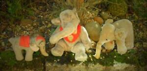 3 OLD VINTAGE GERMAN ELEPHANTS, 1 IS STEIFF.  no reserve auction