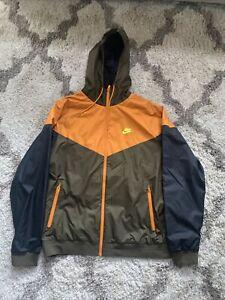 Nike Sportswear Windrunner Hooded Windbreaker Jacket Full Zip Green/Orange Sz XL