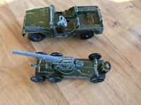 Vintage Tootsietoy Army Jeep & Tank