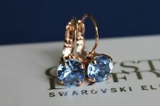 Choose Your Finish Light Sapphire Leverback Earrings-Swarovski Crystal Elements