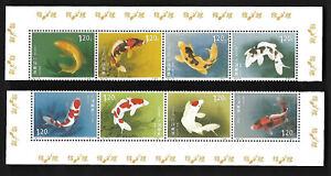 China 2017-14 Koi 8V Stamp SPECIMEN Fish Regular Gum Without Issue 錦鯉 樣票