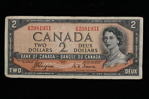 """1954 Canada. ($2) Two Dollars. """"Devil's Face"""" Series A/B. Coyne-Towers"""