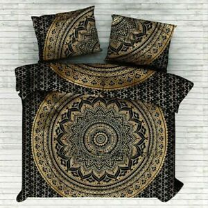 Mandala Duvet Covers Gold Print Bedding Set Double With 2 Pillow Covers Quilt
