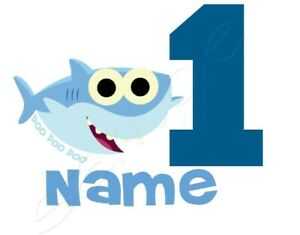 Iron on Transfer PERSONALISED BIRTHDAY baby shark any number 17x13cm