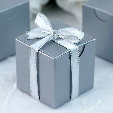 """100 pcs Silver FAVOR BOXES 2""""x2"""" Wedding Party Home Decorations GIFT Supply SALE"""