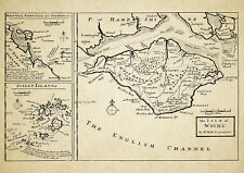 Isles of Wight, Scilly, Holy & Farne,  Map by Herman Moll 1724 - Reproduction