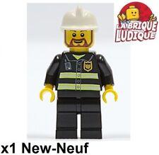 Lego Figurine Minifig pompier feu fire man fireman casque moustache cty0055 NEUF