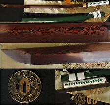 Japanese Samurai Sword Katana Black&Red Full Tang 1060 Damascus Very Sharp Blade