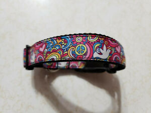 "OMIES Handmade ""PEACE"" love Unity Dog Pet Collar 16""-27""..USA MADE!!"