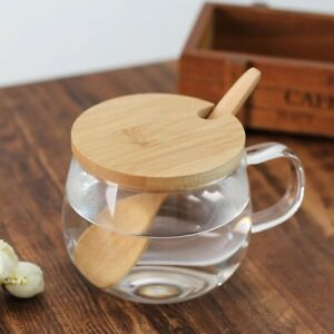 Transparent Glass Coffee Cup With Spoon Wooden Lid Round Milk Cup Handle Glass