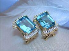 5.50Ct Emerald Cut London Blue Topaz Omega back Earrings 14K Yellow Gold Finish