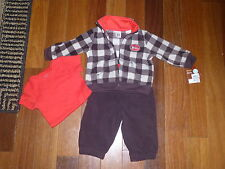 NEW CARTERS INFANT BABY BOY 3 PC SET WINTER BROWN/RED SOFT FLEECE 6 MONTHS
