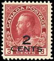 Canada #140 mint F-VF OG NH 1926 King George V 2c/3c carmine Admiral Provisional