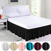 "Queen King Twin Full Bed Skirt Ruffle Elastic Bedspread Corners Wrap w/ 15"" Drop"