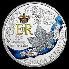 2016 Canada Silver 1oz Queen 90th Birthday Celebration Color Proof Coin 877/7000