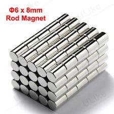 50 x Bulk Cylinder Magnet D6 x 8 mm 6mm x 8mm Neodymium Magnetic Curtain Rod N52
