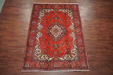 7X10 (6.6 x 9.7) Persian Tabriz Hand-Knotted 1960s Oriental Wool Area Rug Carpet