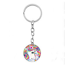 Vintage Glass photo Cabochon Tibetan silver Metal Key Ring (Rainbow horse