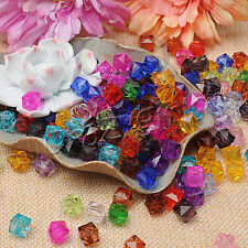 100pcs Clear Square Faceted Acrylic Crystal Spacer Beads Jewelry Making 10mm J