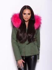 Genuine pink detachable fur hood KHAKI PARKA JACKET RRP £400
