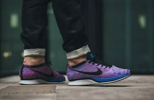 MENS 8 WOMENS 9.5 NIKE FLYKNIT RACER SHOES GAME ROYAL PURPLE BLUE 526628 400