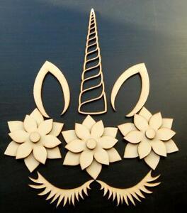Unicorn set blank Emblem shape gift decoration craft MDF Embellishment Decoupage