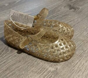 New Girls Old Navy  Gold Glitter Basket Weave Jelly Sandals 5 6 7 8