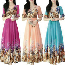 Womens Floral Short Sleeve Swing A-Line Dress Casual Cocktail Party Maxi Dresses