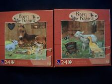 Set of 2 Barn Babies Puzzles Horse with Ducklings & Lamb w/Butterfly New Sealed
