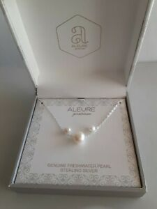 NIB Sterling Silver Aleure FW Pearl Pendant/Chain/Earrings Set