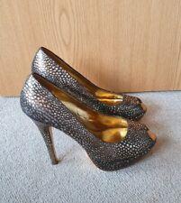 Ted Baker Genuine Leather Shiny Silver Snakeskin Open Toe High Heels 6 (39)