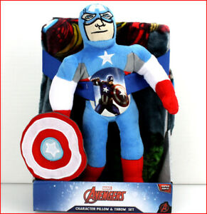 "2 Pieces - Marvel AVENGERS Plush THROW + 14"" Tall Captain America Pillow Figure"