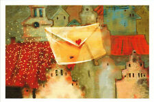 FAIRY-TALE LETTER flies over old town... Modern Russian card by Irina Pozdeeva