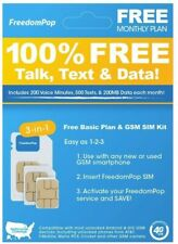 FreedomPop LTE SIM Kit 3-In-1 Voice/Data Bundle Prepaid Carrier Locked GSM