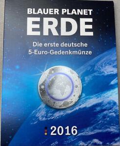 MDM Folder für 5 x 5 Euro 2016 ADFGJ Blauer Planet Erde ohne Münzen