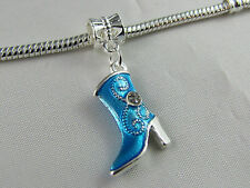 BLUE ENAMEL BOOT WITH CRYSTALS DANGLE CHARM FOR EUROPEAN STYLE CHARM BRACELETS