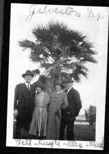 Vintage Photograph 1921 Girl Man Hat Fashion Palm Tree Galveston Texas Old Photo
