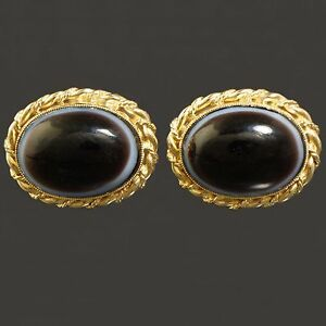 Solid 14K Yellow Gold & Oval Cabochon Banded Agate Toggle Back Estate Cufflinks