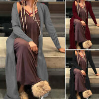 UK Women Ladies Maxi Waterfall Cardigan Duster Jacket Coat Outwear Plus Size Top