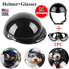 Cat Dog Helmet for Motorcycle Cycling Bike Doggie Hat Safety Cap With Goggles Us