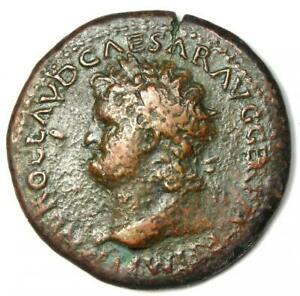 Ancient Roman Nero AE Sestertius Copper Coin 65 AD - Good Fine - Rare Coin!