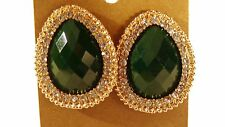 CLIP-ON EARRINGS FAUX CRYSTAL PEAR EARRINGS CLIP ASSORTED COLORS DEEP 1.25 INCH