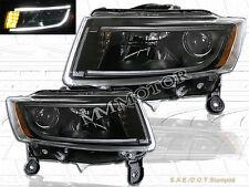 14 15 16 Jeep Grand Cherokee 4 Door BLACK Headlights w/ LED Strip 2014 2015 2016