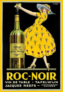 Roc Noir Vin De Table Wine Cafe Restaurant  Alcohol Bar Pub Drink Print Poster